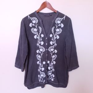 J.Jill Peasant Style Embroidered Blouse Gray M/L